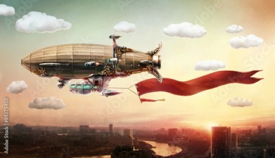 Fototapeta Dirigible with a banner, in the sky over a city.