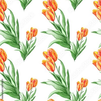 Fototapeta Classical Wallpaper Pattern with Red Tulips