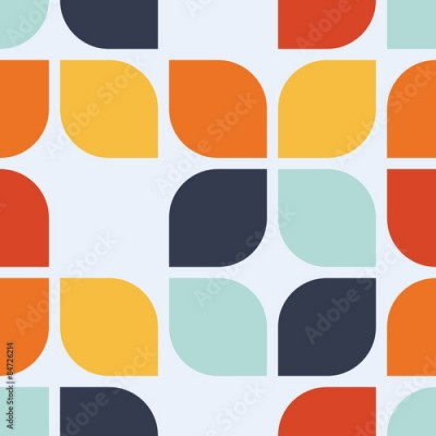 Fototapeta Seamless geometric vintage wallpaper vector illustration