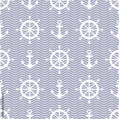 Naklejka Cute nautical background. Navy vector seamless pattern: anchor, waves and steering wheel.
