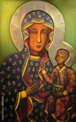 Plakat Tel Aviv - Icon of black Madonna  from st. Peters church