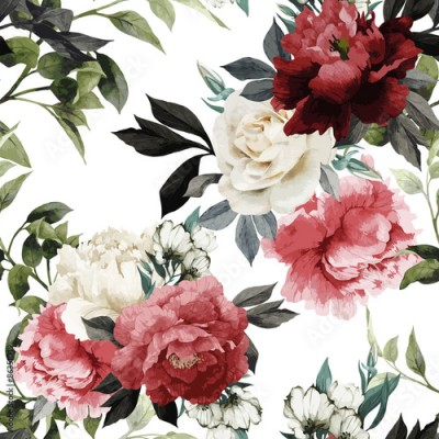 Obraz Seamless floral pattern with roses, watercolor. Vector illustrat
