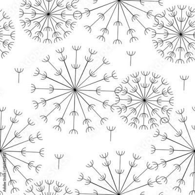 Panel Szklany vector abstract seamless black and white pattern of dandelions