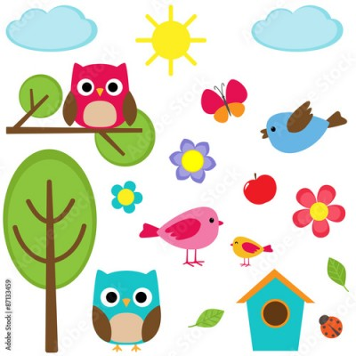 Fototapeta Cute vector set of different summer elements