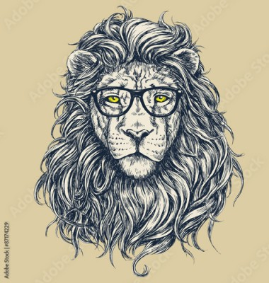 Fototapeta Hipster lion vector illustration. Glasses separated.