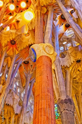 Obraz na Szkle Ceilings and columns of the Sagrada Familia Cathedral in Barcelo