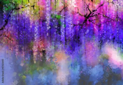 Obraz na płótnie Abstract Violet color flowers. Watercolor painting. Spring purple flowers Wisteria in blossom with bokeh background