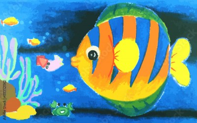 Plakat Colorful  fish and beatiful coral in the sea painting