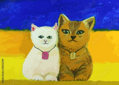 Plakat cute cat painting on colorful background