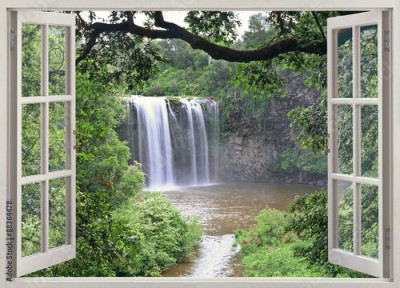 Obraz Dangar Falls view in open window