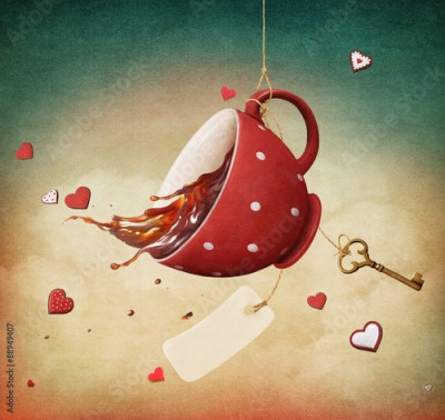 Plakat Illustration of fantasy with red cup of tea