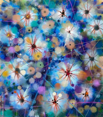 Obraz Abstract floral watercolor painting. Hand paint White flowers in soft color on blue and green color background. Spring flower seasonal nature background