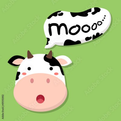 Obraz cute cow head saying