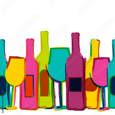 Obraz Vector watercolor seamless background, colorful wine bottles and