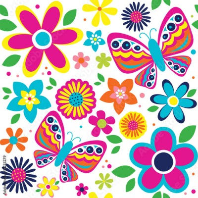 Obraz spring pattern with cute butterflies suitable for gift wrap or wallpaper background