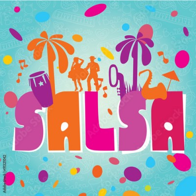 Obraz na płótnie Salsa vector lettering with silhouettes of palms, musical instruments and confetti. Modern illustration, design element.