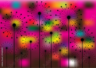 Fototapeta abstract vector background with dandelions silhouettes