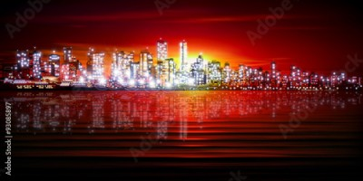 Fototapeta abstract background with silhouette of city