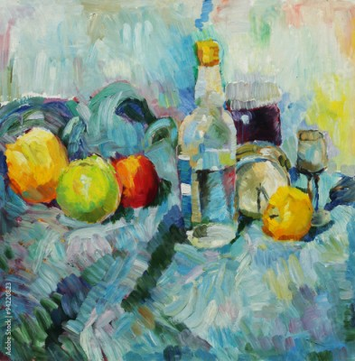Plakat Oil painting. Still life with bottle and apples at the tissue background