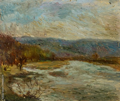 Plakat Beautiful Original Oil Painting of autumn landscape in dull tones On Canvas