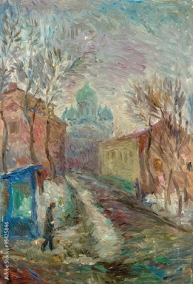 Plakat Beautiful Original Oil Painting  city street in bright colors  On Canvas