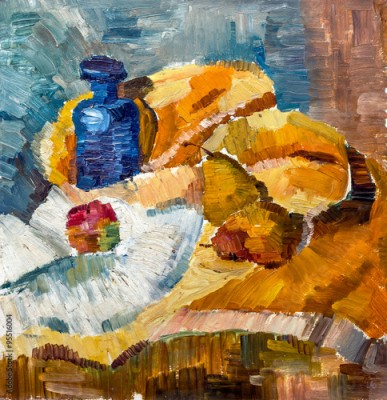 Plakat Still Life Illustration with bottle, apple, pear. Painting Style. Oil on canvas.