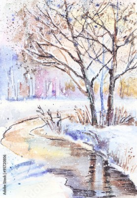 Obraz na płótnie Watercolor painting: winter landscape with frozen trees