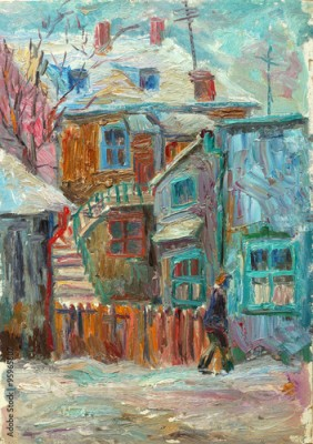 Obraz na płótnie Beautiful bright colors  winter Original Oil Painting ofman walking on the street On Canvas