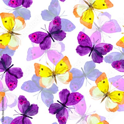 Fototapeta Seamless trendy backdrop with colourful watercolour painted butterflies