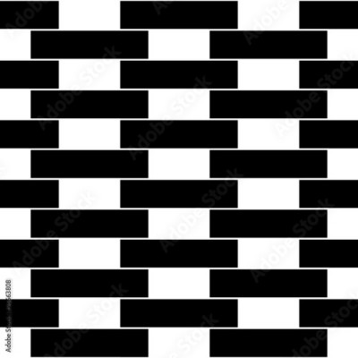 Fototapeta Vector modern seamless geometry pattern brick wall, black and white abstract geometric background, pillow print, monochrome retro texture, hipster fashion design