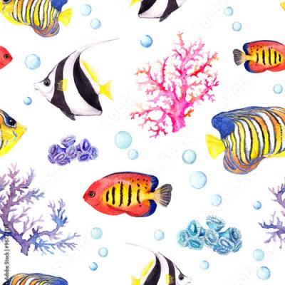 Fototapeta Exotic fishes, sea corals and water baubles. Repeating pattern. Watercolor