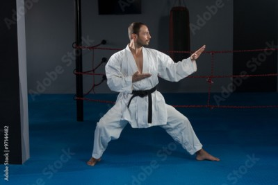Obraz na płótnie Man In White Kimono And Black Belt Training Karate