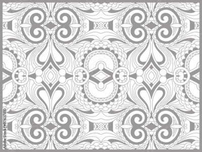 Fototapeta unique coloring book page for adults - flower paisley design