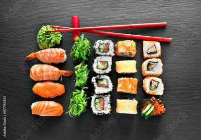 Obraz na Szkle Sushi set and chopsticks