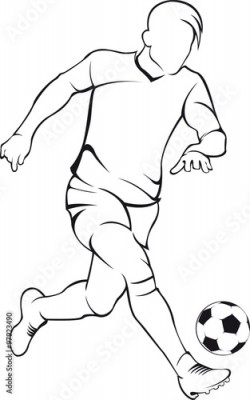 Fototapeta Football (soccer) player. Vector linen silhouette