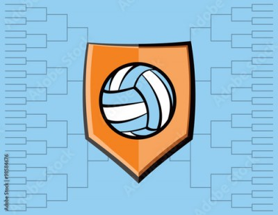 Obraz na płótnie Volleyball Emblem and Tournament Background