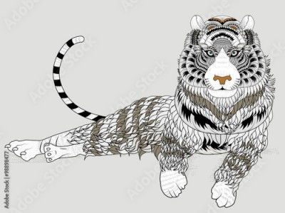 Fototapeta attractive tiger coloring page