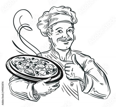 Obraz na Szkle Illustration of an italian cartoon chef with a freshly baked pizza