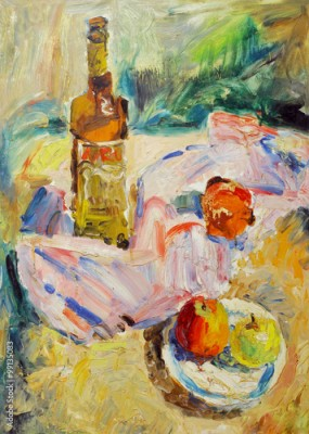 Plakat Beautiful Original Oil Painting of  still life  glass; bottle; tray;  apple; fabric; shade On Canvas in the style of Impressionism