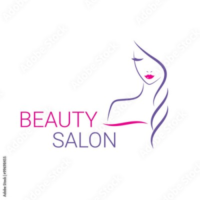 Obraz Beautiful woman vector logo template for hair salon, beauty salon, cosmetic procedures, spa center.