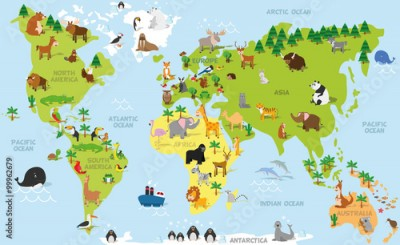 Naklejka Funny cartoon world map with traditional animals of all the continents and oceans. Vector illustration for preschool education and kids design