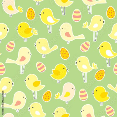 Fototapeta vector seamless Easter pattern with birds and eggs