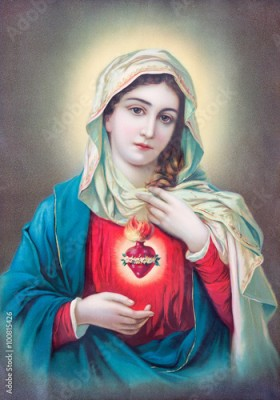 Plakat SEBECHLEBY, SLOVAKIA - JULY 27, 2015: Typical catholic image of heart of Virgin Mary from Slovakia printed in Germany from the begin of 20. cent. originally by unknown artist.
