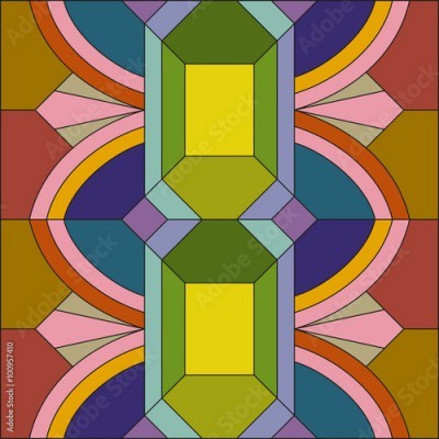 Fototapeta Art deco vector colored geometric pattern. Art deco stained glass pattern. Abstract pattern.