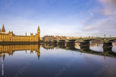 Fototapeta Beautiful morning view of Westminster Bridge and Houses of Parliament with Thames river - London, UK