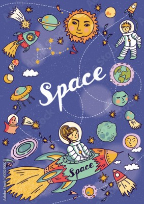 Obraz Space banner with planets, rockets, astronaut and stars. Childish background. Hand drawn vector illustration.