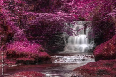 Plakat Beautiful alternate colored surreal waterfall landscape