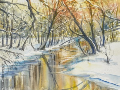 Obraz na płótnie Watercolor painting of wintera landscape:river in fores during sunset.
