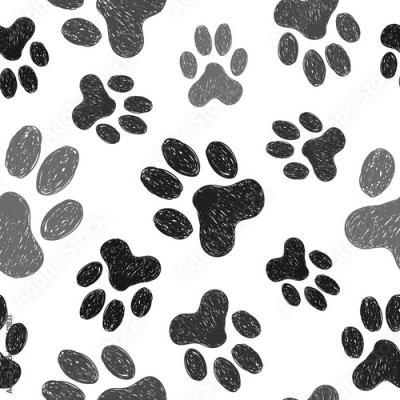 Obraz Paws print seamless pattern. Vector background with doodle dogs paws.