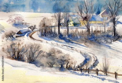Obraz na płótnie Winter landscape with road to village.Picture created with watercolors.